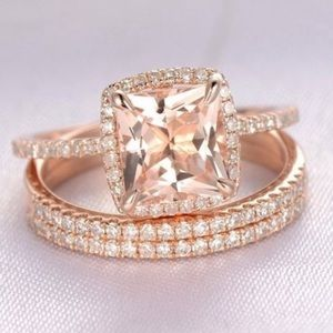 18K Rose Gold Filled With 4.25ct Morganite Ring